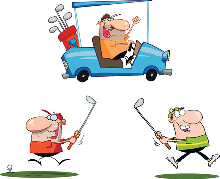 Happy Golfers Cartoon Characters  Set Collection Vector