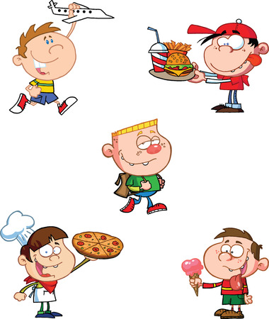 Happy Kids personajes de dibujos animados Foto de archivo - 26185073