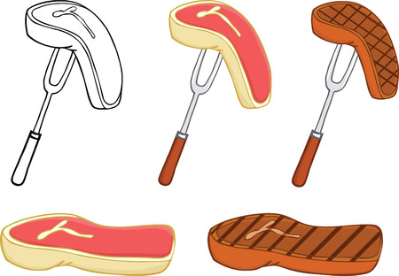 kobe: Raw and Grilled Steak  Set Collection Illustration