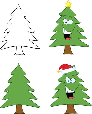 tree: Christmas Tree Cartoon Character  Set Collection