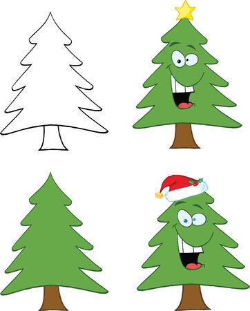 christmas tree illustration: Christmas Tree Cartoon Character  Set Collection