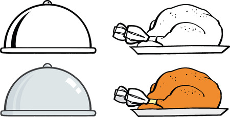 Silver Cloche And Turkey On Plate  Set Collection Vector