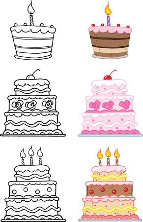 Cartoon Cakes  Set Collection Vector