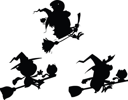 wicked set: Halloween Witch Cartoon Silhouettes  Set Collection Illustration