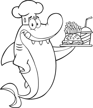 Black And White Chef Shark Holding A Plate Of Hamburger And French Fries  Illustration Isolated on white