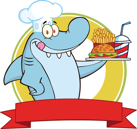 Chef Shark With Plate Of Hamburger,French Fries And Soda Label  Illustration Isolated on white