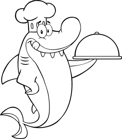 Black And White Chef Shark Cartoon Character Holding A Platter  Illustration Isolated on white Vector