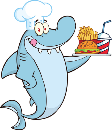 Chef Shark Cartoon Character Holding A Plate Of Hamburger And French Fries  Illustration Isolated on white Illustration
