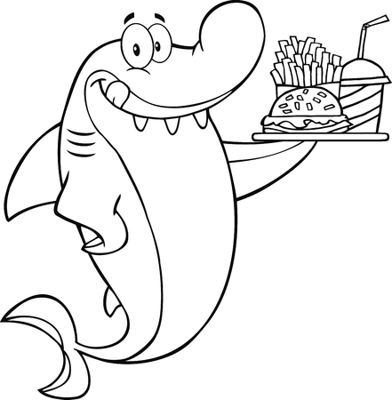 outlined isolated: Black And White Shark Cartoon Character Holding A Plate Of Hamburger And French Fries  Illustration Isolated on white