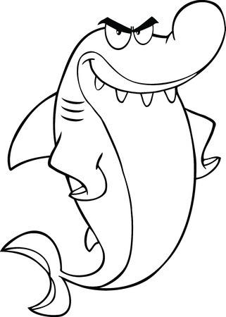 Black And White Angry Shark Cartoon Character  Illustration Isolated on white Vector