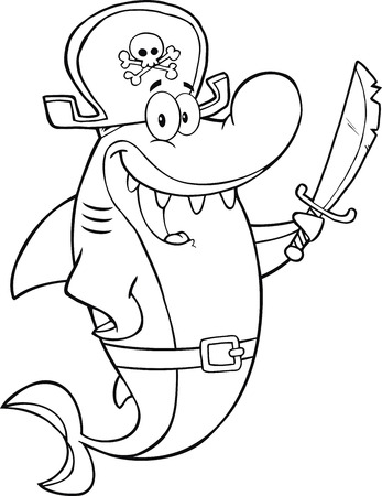 Black And White Pirate Shark Cartoon Character Holding A Sword  Illustration Isolated on white Vector