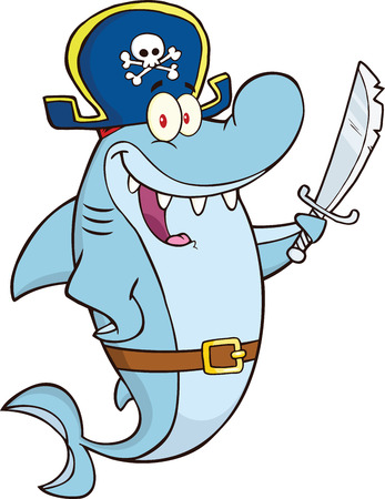 Pirate Shark Cartoon Character Holding A Sword  Illustration Isolated on white Vector