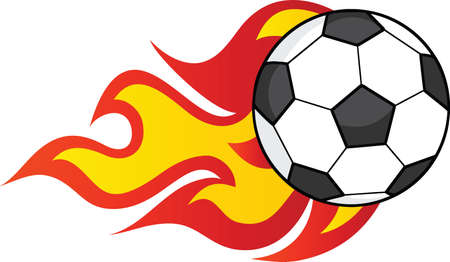 Flaming Soccer Ball  Illustration Isolated on white Vector