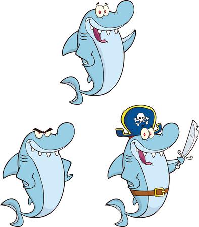 Shark Cartoon Mascot Character 1  Set Collection Vector