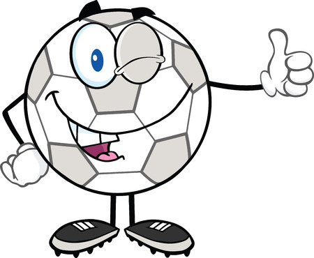 winking: Winking Soccer Ball Cartoon Character Holding A Thumb Up  Illustration Isolated on white Illustration