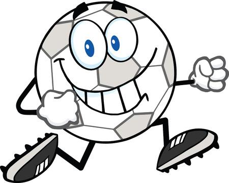 futbol soccer dibujos: Sonreír Carácter Correr Ilustración balón de fútbol de dibujos animados aislado en blanco Vectores