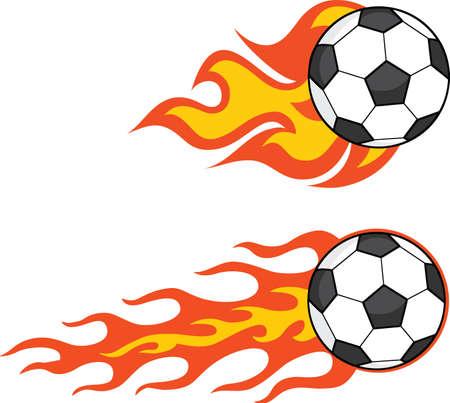 Flaming Soccer Balls  Set Collection Vector