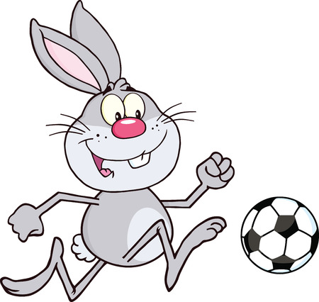 Cute Gray Rabbit Cartoon Character Playing With Soccer Ball  Illustration Isolated on white