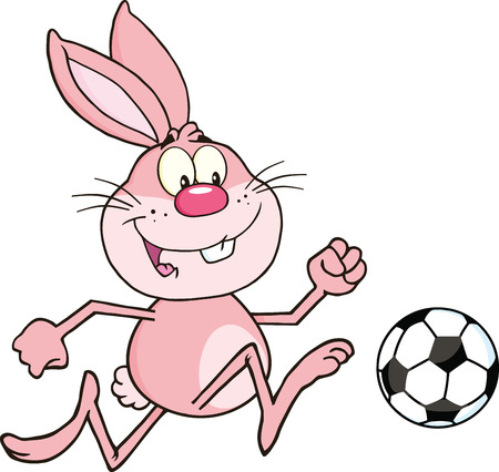 Cute Pink Rabbit Cartoon Character Playing With Soccer Ball  Illustration Isolated on white Vector