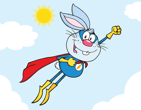 Blue Rabbit Superhero Cartoon Character Flying In The Sky Vector
