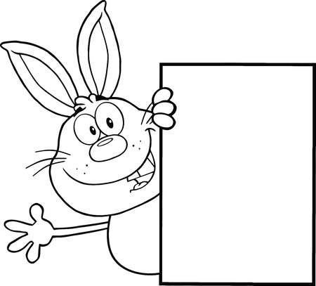 Black And White Rabbit Cartoon Character Looking Around A Blank Sign And Waving
