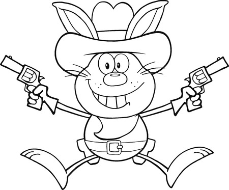wild rabbit: Black And White Cowboy Rabbit Cartoon Character Holding Up Two Revolvers  Illustration Isolated on white
