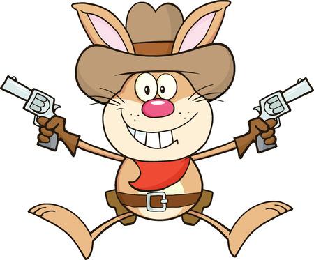 화이트 절연 카우보이 토끼 만화 캐릭터를 들고 두 리볼버 그림