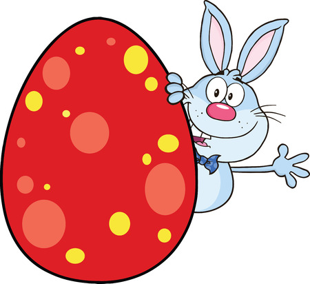 Cute Blue Rabbit Cartoon Character Waving Behind Easter Egg  Illustration Isolated on white