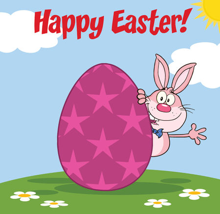easter egg hunt: Happy Easter From Pink Rabbit Cartoon Character Waving Behind Egg