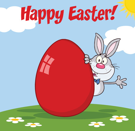 easter egg hunt: Happy Easter From Gray Rabbit Cartoon Character Waving Behind Egg