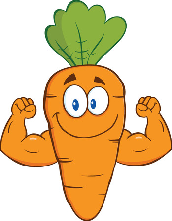 strong: Cute Carrot Cartoon Character Showing Muscle Arms  Illustration Isolated on white