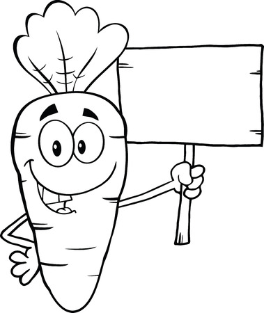 Black And White Funny Carrot Cartoon Character Holding A Wooden Board  Illustration Isolated on white Vector