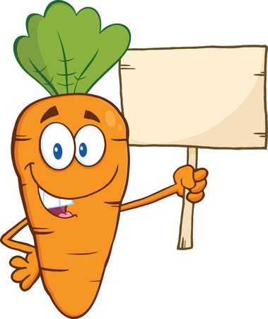 Funny Carrot Cartoon Character Holding A Wooden Board  Illustration Isolated on white