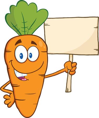Grappige Cartoon van de wortel karakter met een houten plank illustratie geïsoleerd op wit Vector Illustratie