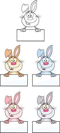 Rabbit Cartoon Character 3  Set Collection