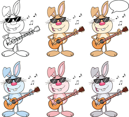 Rabbit Cartoon Character 9  Set Collection Vector