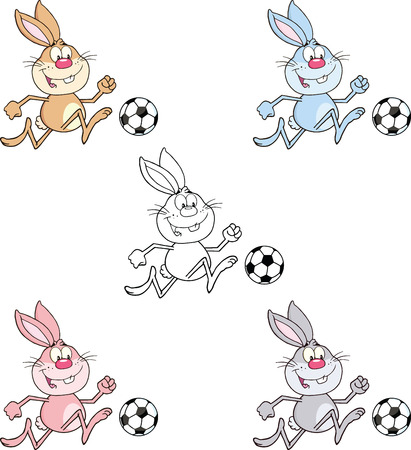 Rabbit Cartoon Character 10  Set Collection Vector