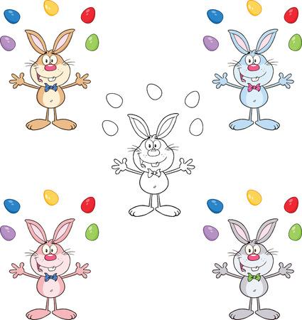 conejo caricatura: Personaje de dibujos animados Conejo 12 Set Collection