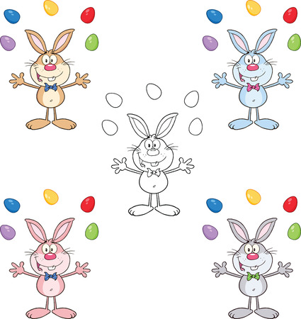 Rabbit Cartoon Character 12  Set Collection Vector