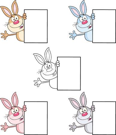 rabbit cartoon: Rabbit Cartoon Character 15  Set Collection Illustration