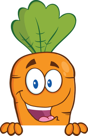 Happy Carrot Cartoon Character Over Blank Sign  Illustration Isolated on white