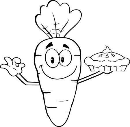 carrot cake: Black And White Smiling Carrot Cartoon Character Holding Up A Pie  Illustration Isolated on white
