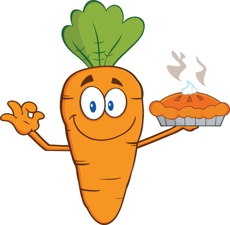 carrot cake: Smiling Carrot Cartoon Character Holding Up A Pie  Illustration Isolated on white Illustration