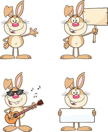 rabbit standing: Cute Rabbits Cartoon Mascot Characters 1  Set Collection