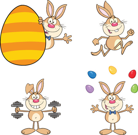 Cute Rabbits Cartoon Mascot Characters 2  Set Collection Vector