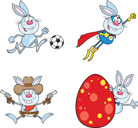 Cute Rabbits Cartoon Mascot Characters 7  Set Collection Vector