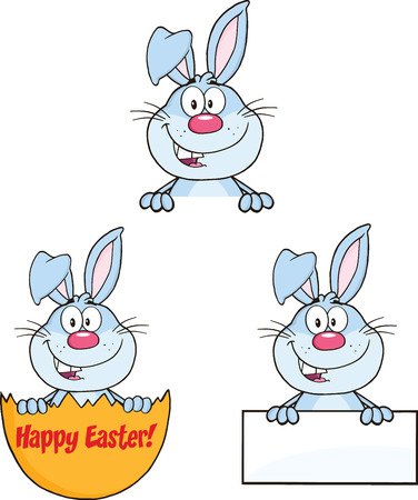 Cute Rabbits Cartoon Mascot Characters 10  Set Collection Vector