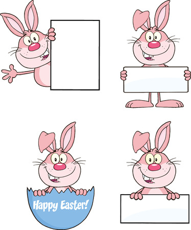 Cute Rabbits Cartoon Mascot Characters 12  Set Collection Vector