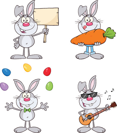 Cute Rabbits Cartoon Mascot Characters 17  Set Collection Vector