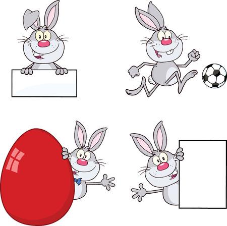 Cute Rabbits Cartoon Mascot Characters 19  Set Raster Collection Vector